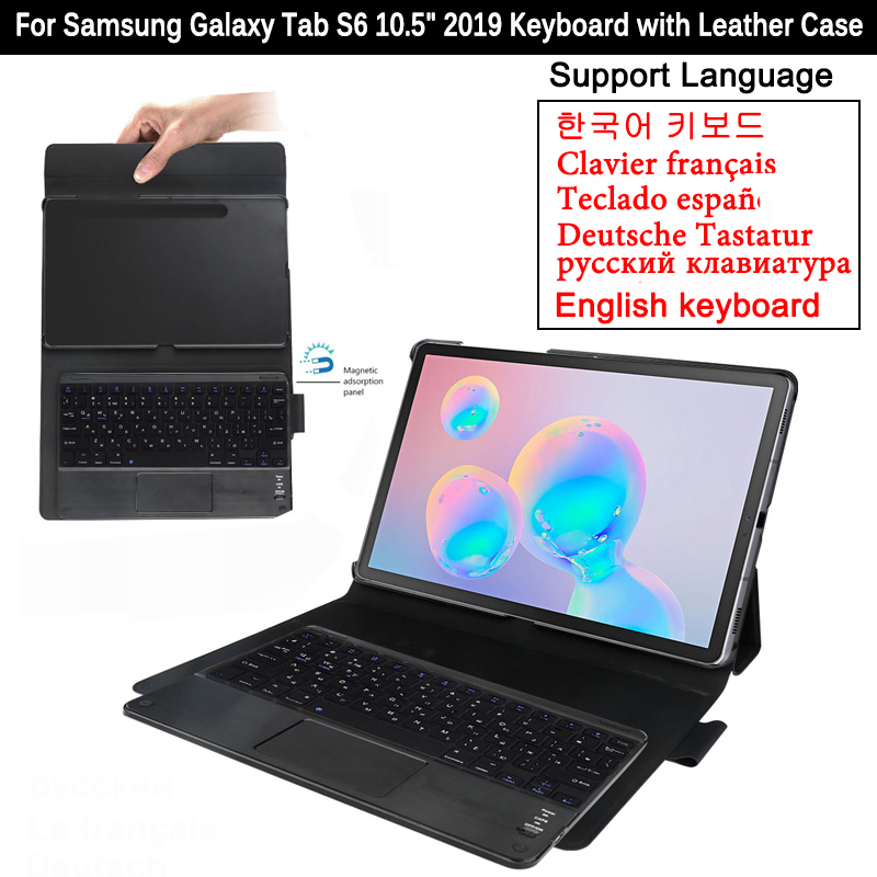Bluetooth Keyboard For Samsung Galaxy Tab S6 10.5 Inch 2019 T860 T865 Tablet Cover Magnetic Detachable Keyboard Leather Case