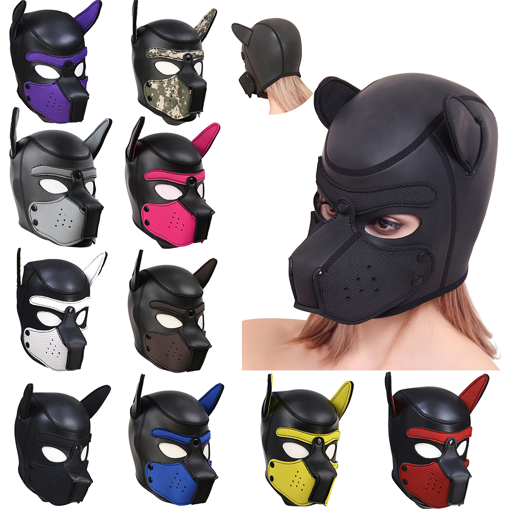 Brand New 10 Color Sexy Cosplay Role Play <font><b>Dog</b></font> Full Head <font><b>Mask</b></font> Soft Padded Latex Rubber Puppy BDSM Bondage Hood <font><b>Sex</b></font> Toys for Women image