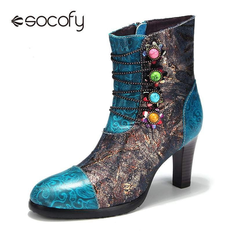 SOCOFY Bohemian Style Vintage Leather Women's High Heels Ladies Ankle Boot Hand-painted Printed Flannel Lining Zip Women Boots
