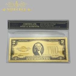 Цветной Америка банкнот 1928 USD 2 доллара золотых банкнот с Пластик рамка сувенир из нас поддельные Бумага счетная