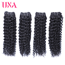 UNA Curly Brazilian Human Hair Remy Hair Bundles 4 Bundles Deal Color #1B 8 to 28 цена
