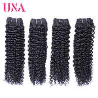 UNA Lockige Brasilianische Menschliche Haar Remy Haar Bundles 4 Bundles Deal Farbe # 1B 8 bis 28