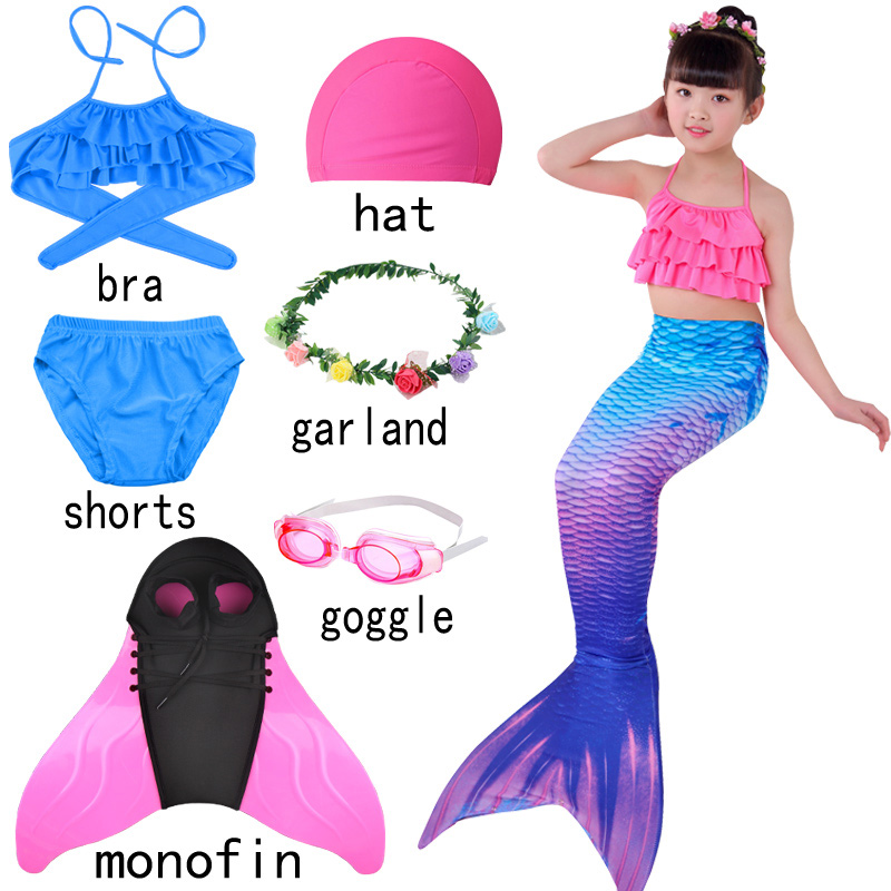 Halloween Children Girl Mermaid Tails With Flipper Monofin Swimsuit Bikinis Swimming Suit Holiday For Girls With Wreath Dress Up