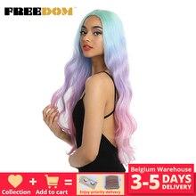 Perucas sintéticas longas da parte dianteira do laço da liberdade onda natural 30 polegada omber cor do arco íris cor rosa do cabelo perucas resistentes ao calor da fibra cosplay