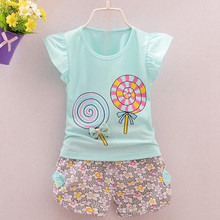2020 Girls Clothes Sets For Kids Lolly T-shirt Tops+Short Pants Clothes Toddler Girl Outfits Roupa Infantil Summer Clothes Sets cheap Casual O-Neck Pullover Children Set COTTON REGULAR Fits true to size take your normal size Shorts Print Girl clothes Baby clothes girl