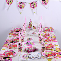 82pc Pink Red Minnie Mouse Girls Birthday Party Supplies Disposable Tablecloth Cups Plates Napkins Kids Party Decoration Set Hat
