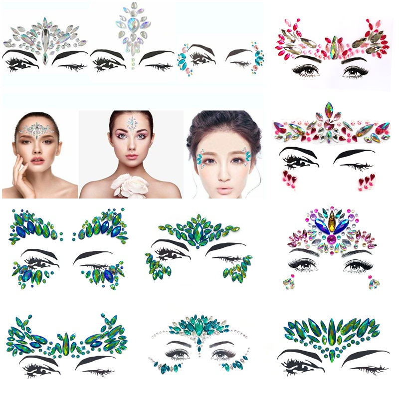 Eye Glitter Rhinestone Temporary Tattoo Stickers Body Face Jewel Party Makeup Tatoo Face Crystal Stickers For Woman Girls Stick