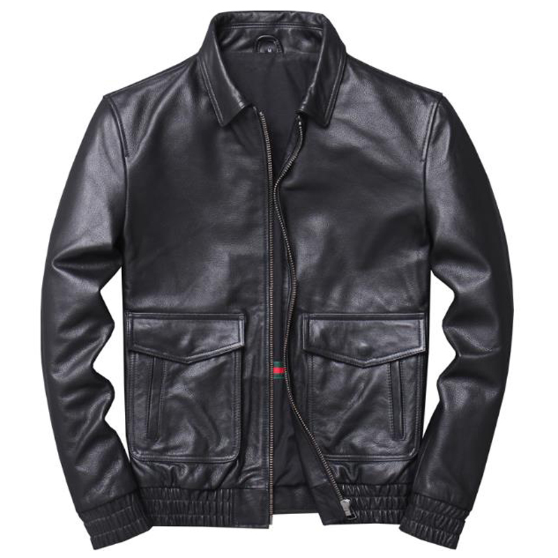 European Cowhide Real Cow Leather Jacket Coats Automotive Mens Genuine Leather Jacket 4XL Big Tall Mans Overcoat Streetwear A936