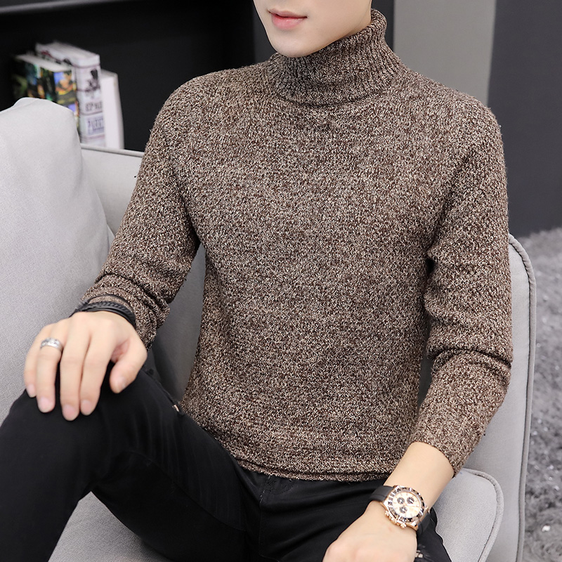 2019 Men Turtleneck Sweater Autumn Winter Solid Color Casual Sweater Men High Collar Slim Fit Knitted Pullovers Bottoming Jumper