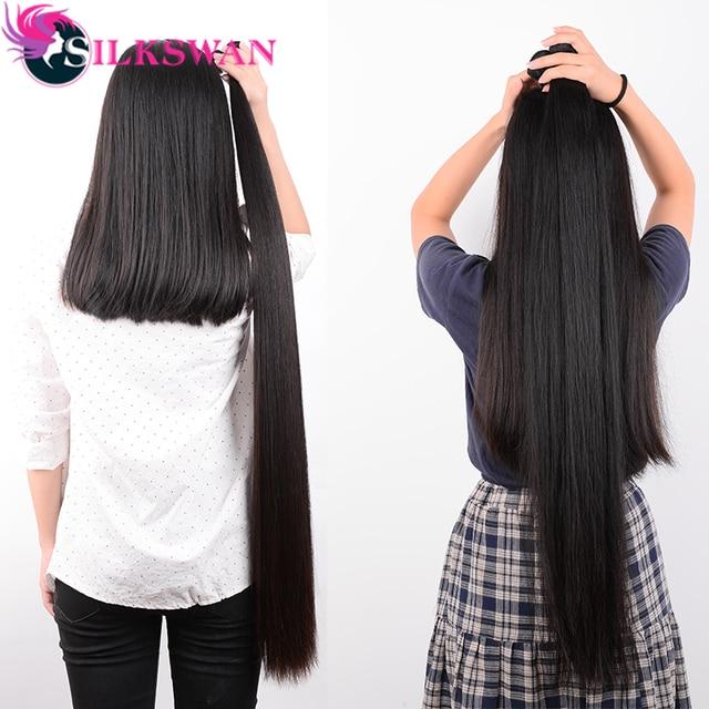 Silkswan 32 34 36 38 40 pulgadas recto extensiones de cabello humano 3 4 piezas Remy extensión del pelo brasileño extensiones de pelo ondulado
