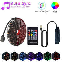 SMD 5050 USB LED Strip Light Music Control RGB Flexible Tape String Lamp with 20 Keys RF Controller for TV Desktop Background