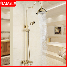 цена на Bathroom Shower Faucet Gold Brass Bathtub Faucet Mixer Tap Wall Mounted Water Saving Shower Head Rainfall Shower Faucet Set