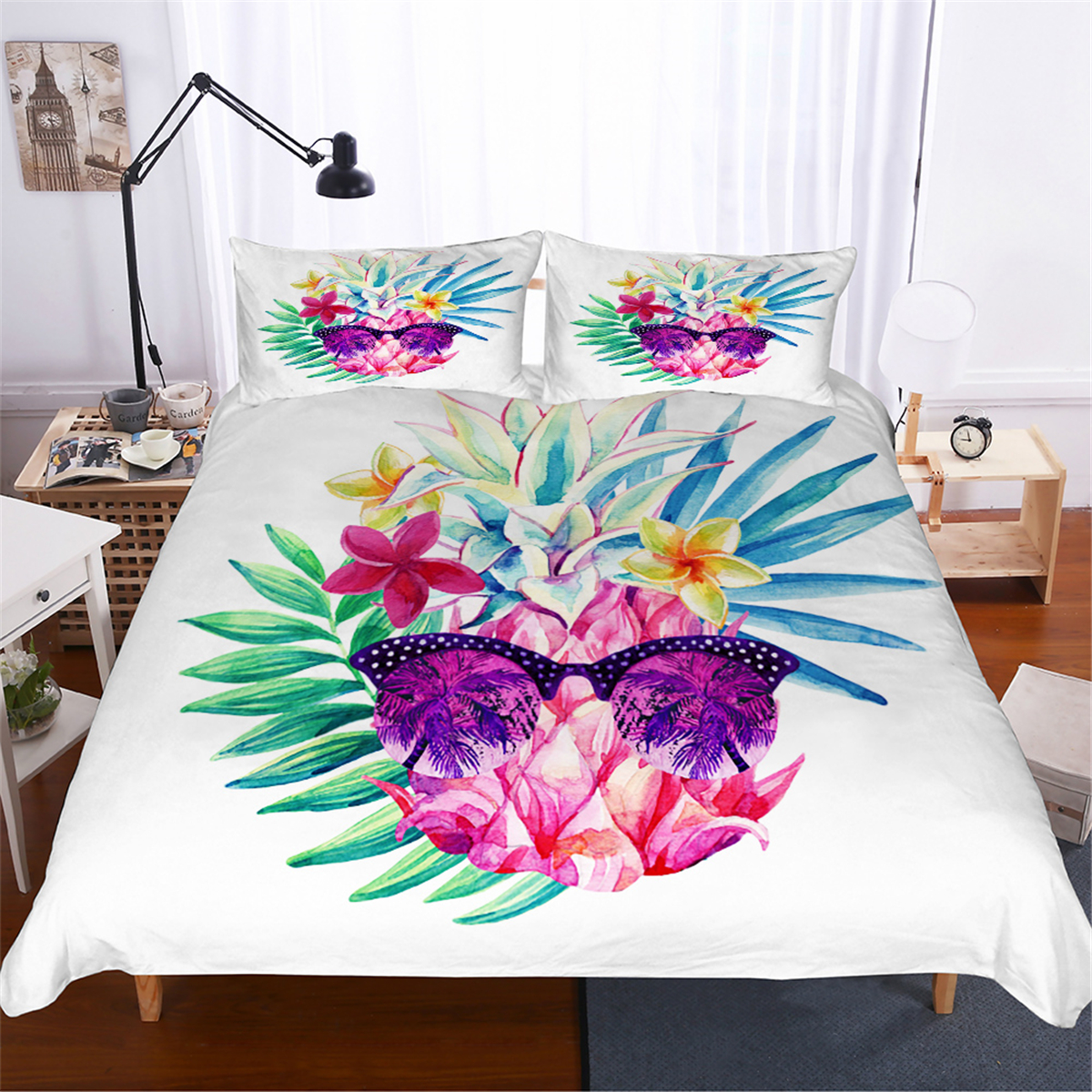 Vacation Pineapple Duvet Cover Colorful Tropical Fruit Bedding Set Kids Teens Comforter Set Single Double Bed Cover Bedspread
