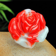 Chinese Red White Jade Rose Pendant Flower Necklace Charm Jewellery Fashion Accessories Hand-Carved Amulet Gifts for Women Her(China)