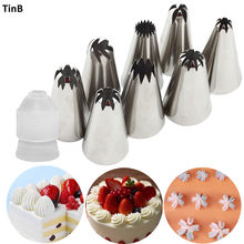 9Pcs Middle Size Russian Pastry Icing Piping Nozzles Stainless Steel Decorating Tip Cake Cupcake Decorator Kitchen Accessories