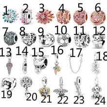 Encantos de prata 925 grânulos originais para fazer joias 2020 nova rosa rosa margarida corda ornamentação