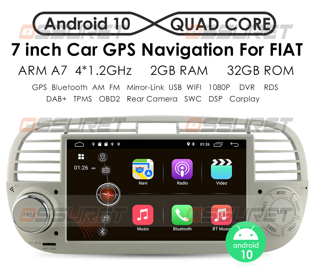 CarPlay Авторадио Android 10 четырехъядерный автомобильный Dvd медиаплеер для FIAT 500 радио мультимедиа Buit in DPS Автомобильный GPS-навигатор wifi 4g