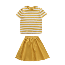 Summer Teen Girls Clothing Set 2020 Children Tops stripe T shirt + skirt 2 Piece  Kids Outfits Girl Clothes For 3 8 12 14 Years wool teen kids clothing set autumn winter children clothing set sleeveless dress cape coats 2 pcs clothes suits girl outfits