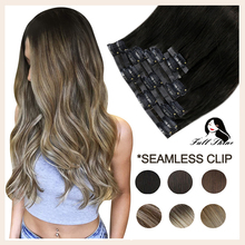 Full Shine PU Clip in Hair Extensions Remy Human Hair 8Pcs 100g Seamless Tape In Hair Extensions Ombre Blonde Color Skin Weft