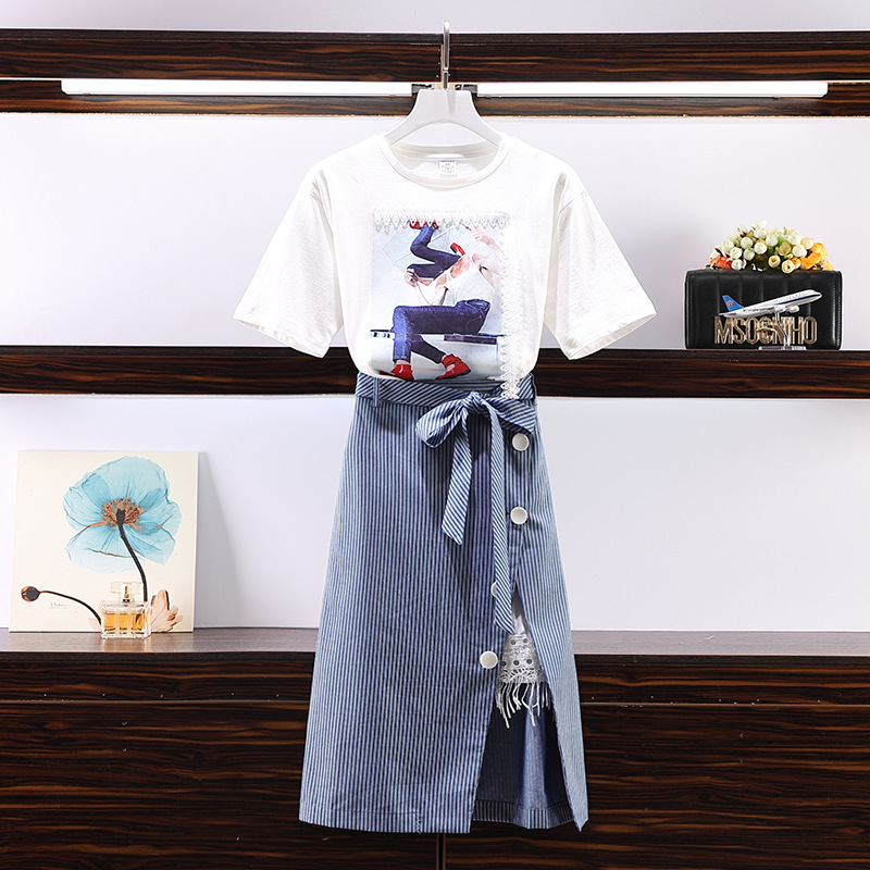 2019 Summer Wear New Style Large Size Dress Fat Mm Lace Joint T-shirt And Irregular Lace-up Skirt Two-Piece Set