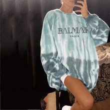 Tie Dye Women's Sweatshirt 2020 Spring Autumn Oversize Loose Casual Hoodie Fashion O Neck Green Pullovers Womenswear(China)