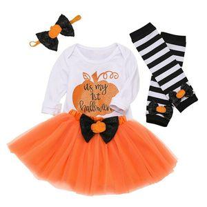 4 шт., костюм на Хэллоуин для новорожденных, одежда для маленьких девочек, топы, комбинезон, юбка-пачка, фатиновая юбка, комплект верхней одеж...