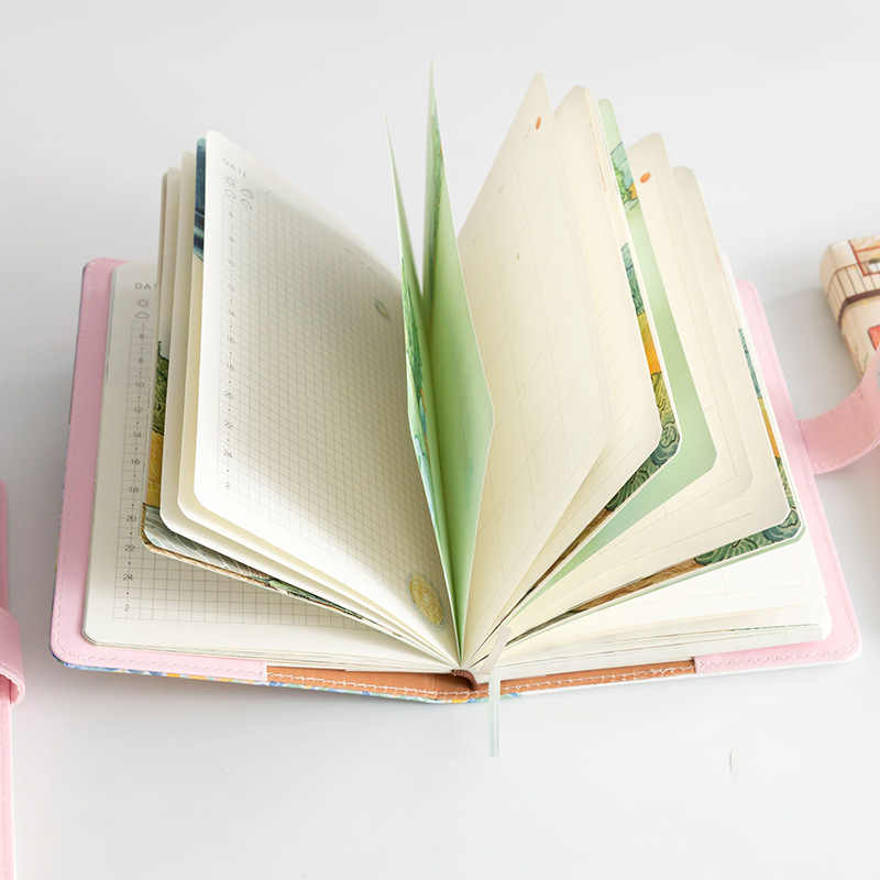 A5 ゴッホかわいい革ポケット弾丸ジャーナルプランナーシステム手帳毎週日記者手帳と色ページ文房具