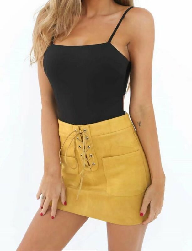 Sexy Women Leather Suede Lace Up Bandage High Waist Party Pencil Mini Skirt Sale Suede Bandage Skinny Lace Up Mini Skirt