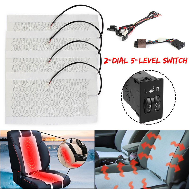2 Seats(4pcs) Or 2pcs Universal 2-Dial Switch 5-Level Carbon Fiber Heated Seat Heater Kit 12V Carbon Fiber Seat Heating Pad