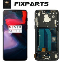 Oneplus 6 LCD Display + Touch Screen Panel Digitizer Assembly Replacement LCD Screen for One plus 6 Mobile Phone 6.28 + Frame