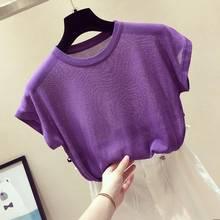 2020 novo t camisas femininas moda soild o-pescoço tricô tshirts casual topos harajuku t camisas femininas roupas femininas camisas mujer
