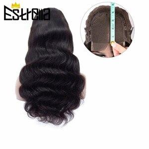 """Image 1 - Cuerpo peruano onda de encaje pelucas de cabello humano Remy 4x4 Peluca de cierre 8 """" 24"""" Color Natural Lace Closure pelucas de cabello humano 150% densidad"""