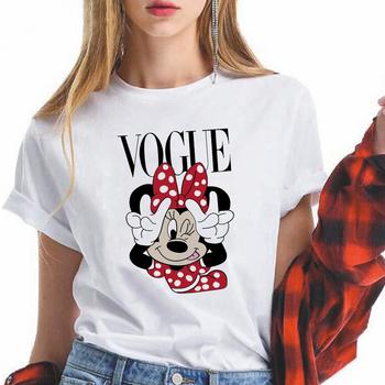 Nowa myszka Minnie T koszula damska bluza Kawaii Cartoon koszulki z nadrukami zabawna koszulka Harajuku Disney Unisex modna koszulka damska tanie i dobre opinie CN (pochodzenie) Lato COTTON POLIESTER spandex tops Z KRÓTKIM RĘKAWEM SHORT REGULAR Z dzianiny W stylu rysunkowym WOMEN