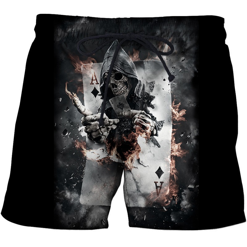 New Casual Skull Poker Printed 3D Beach Shorts Summer Cool Board Shorts For Male Vacation Sport Surfing Shorts Drop Ship