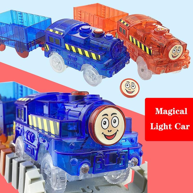 Светодиодный светильник, машинки для магических дорожек, электроника, автомобильные игрушки, мигающий светильник, Необычные DIY, литьевая иг...