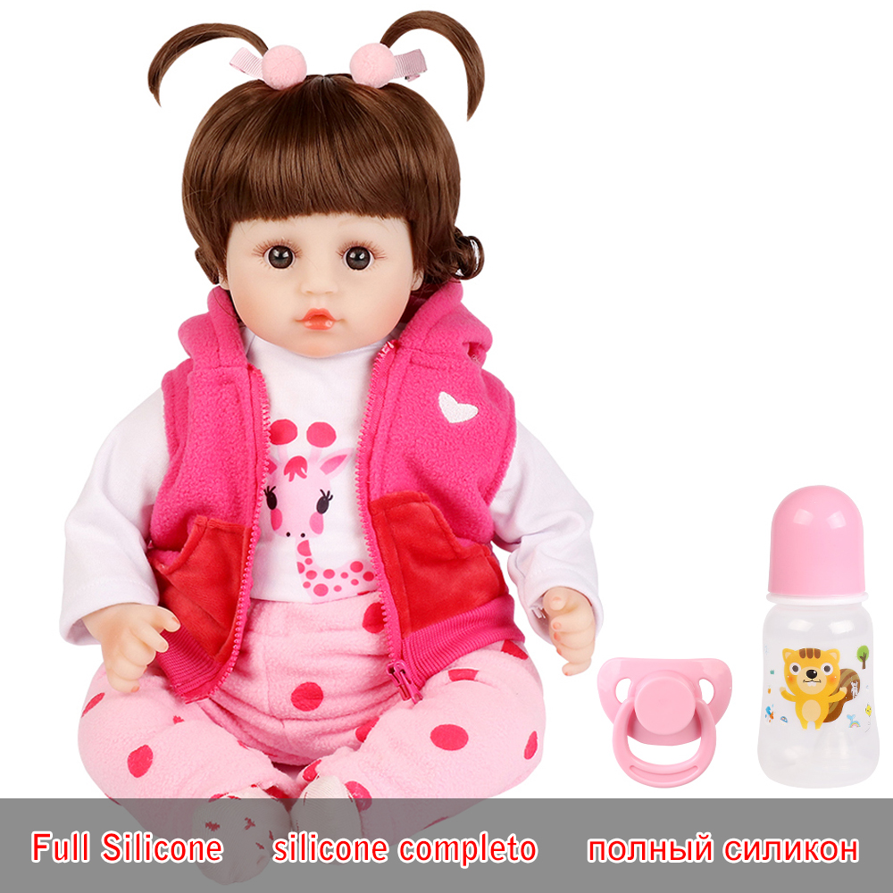 Realistic Reborn Doll 19 Inch Lifelike Handmade Soft Silicone Reborn Toddler Baby Dolls Christmas Surprise Gifts Lol Toy