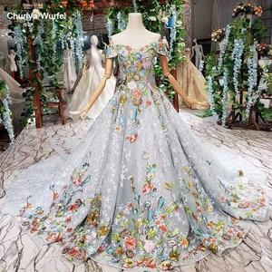 Image 3 - LS00147 długa suknia 2020 lace up powrót aplikacje szary matka córka suknie z odpinanym cape vestido longo de festa