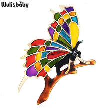 Wuli&baby Multicolor Enamel Butterfly On Branch Brooches Women Beauty Insect Office Casual Brooch Pins Gifts