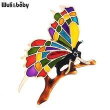 Wuli & baby متعدد الألوان المينا فراشة على فرع دبابيس النساء الجمال الحشرات مكتب عادية بروش دبابيس هدايا
