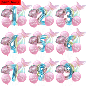 Вечерние воздушные шары в форме русалки, 1, 2, 3, 4, 5 цифр, воздушные шары с днем рождения, вечерние украшения для детского душа, гелиевые шары дл...