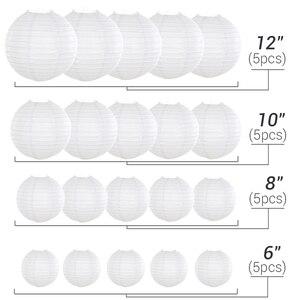 Image 4 - 20 adet/grup 6  12 Mix boyutu menekşe kağıt fenerler çin kağıt fener mor top lamba düğün için parti tatil dekorasyon
