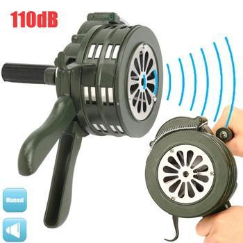 110dB Green Aluminium alloy Crank Hand Operated Air Raid Emergency Safety Alarm Buzzer Home Self Protection Security