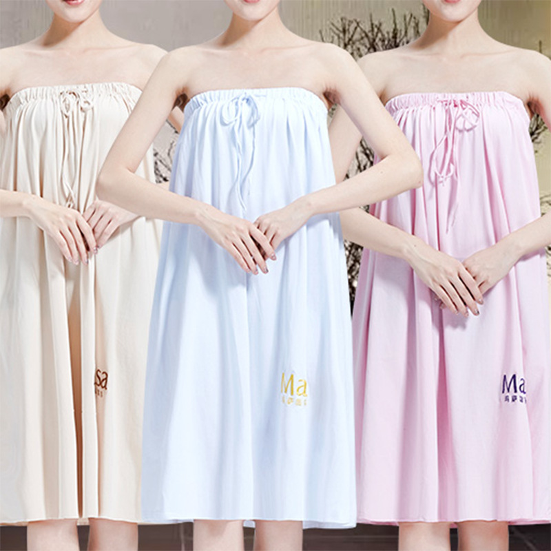 Beauty Salon Bath Skirt Elastic Band Pure Cotton Spa Health Care Clubhouse Guests Bath Towel 80*135 Large Size Ke Ren Fu Solid C