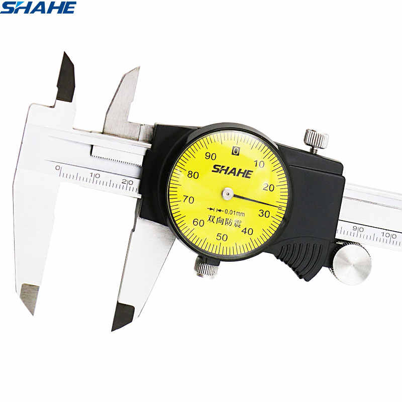 Shahe 0-150 Mm Metrik Gauge Alat Ukur Dial Vernier Caliper Shock-Proof Vernier Caliper 0.01 Mm