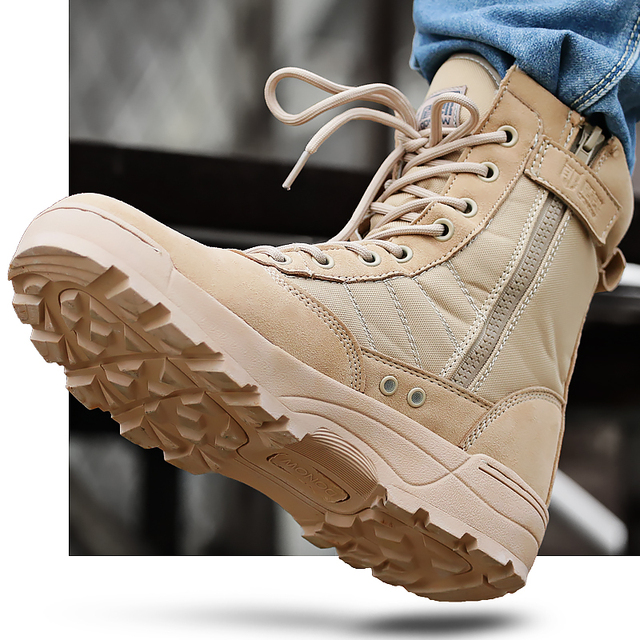 Autumn Outdoor Men Hiking Shoes Military Combat Camping Trekking Fishing Hiking Non-slip Buffer Shock Spring Breathable Shoes 3
