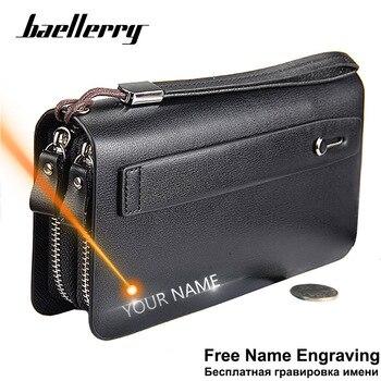 Baellerry Männer Brieftaschen Große Kapazität Handy Tasche Doppel reißverschluss Männer Kupplung Tasche Passcard Tasche Männlichen Business Brieftasche-in Geldbeutel aus Gepäck & Taschen bei