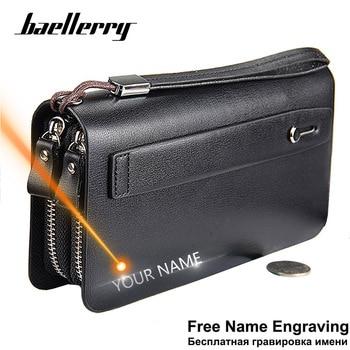 Baellerry Men Wallets Large Capacity Cell Phone Pocket Double Zipper Men Clutch Bag Passcard Pocket Male Business Wallet