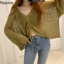 Neploe Autumn Sexy Hollow Out Knit Sweater Women Lace Up V Neck Plaeted Pullover Korean Loose Lantern Sleeve Tops 45791(China)
