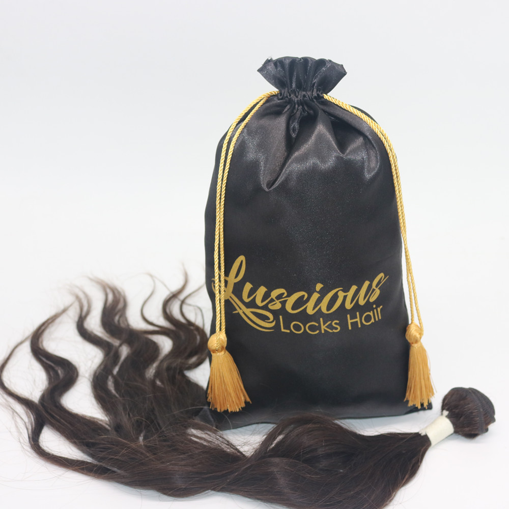Custom Logo Silk Satin Hair Extension Bundels Wigs Drawstring Packaging Bag With Tassels Cloth Garment Draw String Storage Bags