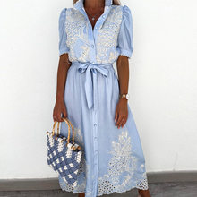 Women Summer Puff Sleeve Hollow Out Shirt Dress Casual Elegant Patchwork Embroidery Lace Long Dress Lace-Up Belted Party Dresses